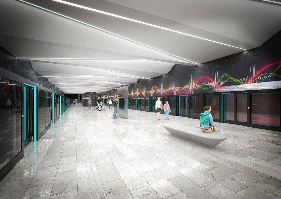 Vítězný návrh podoby stanice Nemocnice Krč na nové lince metra D je od Jiřího Černického.