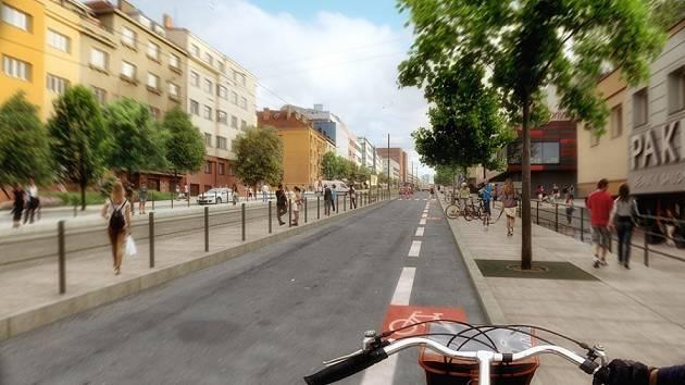 Vizualizace opravy ulice Na Pankráci včetně tramvajové tratě a nové zastávky.