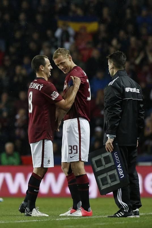 Utkání 23. kola Gambrinus ligy Sparta Praha – Slavia Praha. Marek Matějovský a Jiří Jarošík.