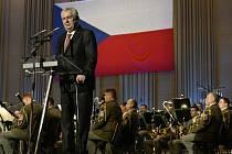 Prezident Miloš Zeman promluvil 5. května 2015 v pražském Kongresovém centru na koncertu k 70. výročí konce druhé světové války.