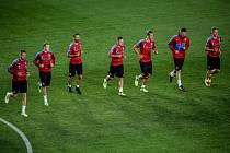 Hráčí při tréninku českého týmu před kvalifikačním utkání s ČR-Německo 31. srpna v Praze.