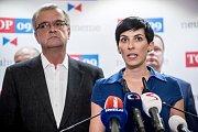 Top 09 zahájila 4. září v Praze svoji kampaň do podzimních parlamentních voleb. Na snímku Markéta Pekarová Adamová a Miroslav Kalousek