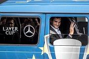 Slavnostní zahájení prvního ročníku tenisového Laver Cupu, které se konalo 20. září na Staroměstském náměstí v Praze. Roger Federer