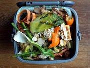 Potraviny v popelnici. Ilustrační foto.