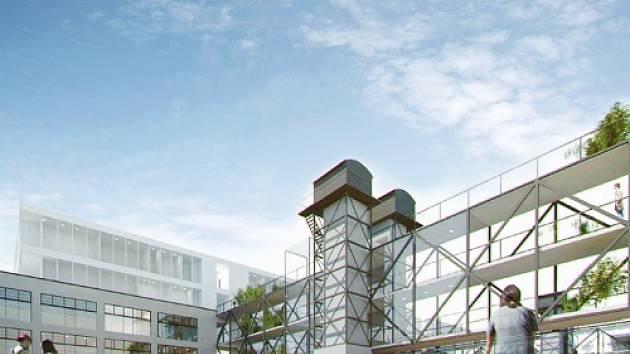 Takhle by mohla vypadat hlavní budova bývalého nákladového nádraží na Žižkově.