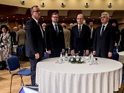 Sněm Hospodářské komory ČR probíhal 16. května v Praze. Miroslav Kalousek, Petr Fiala, Bohuslav Sobotka, Milan Štěch