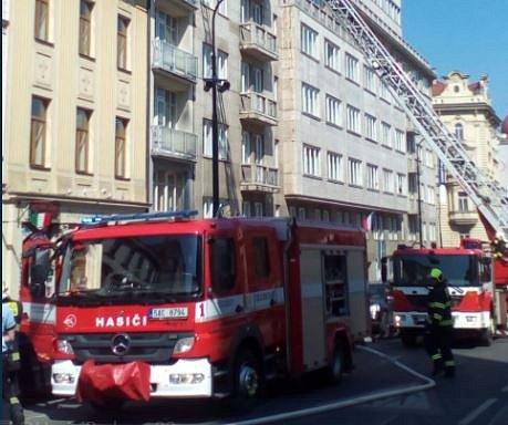 Požár ve Štěpánské ulici v Praze.