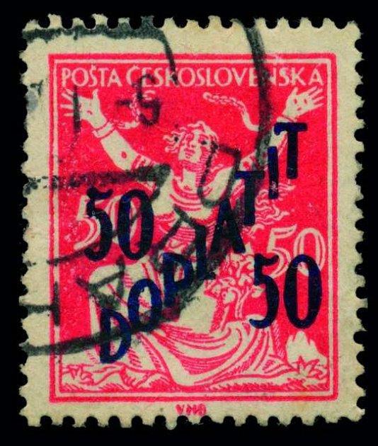 Známka, která vyšla vroce 1927omylem. Je na ní vyznačena hodnota '50/50h Doplatit'.