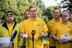 KDU-ČSL zahájila 5. září v Praze ostrou kampaň před podzimními sněmovními volbami. Na snímku Pavel Bělobrádek, Marian Jurečka, Daniel Herman.