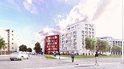 Vizualizace budoucí podoby nádraží Žižkov - Basilejské náměstí.