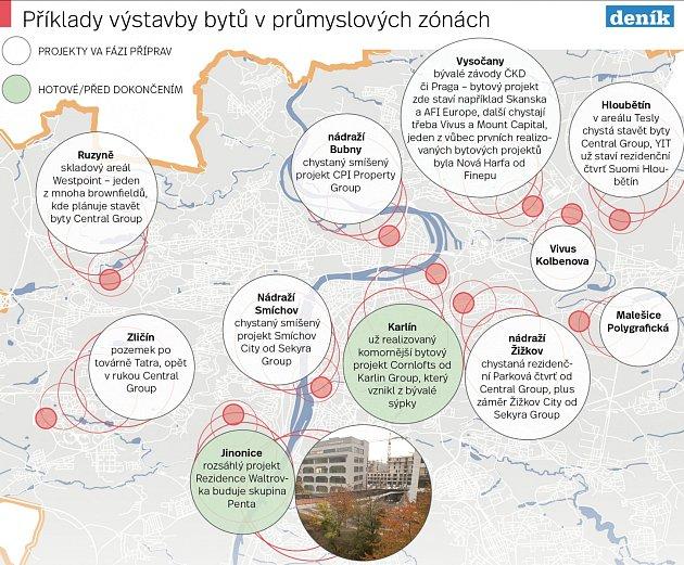 Výstavba bytů vprůmyslových zónách