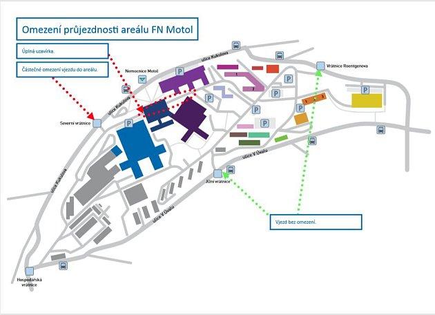 Omezení průjezdnosti areálu FN Motol.