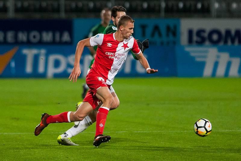 Zápas 15. kola první fotbalové ligy mezi týmy FK Jablonec a SK Slavia Praha se odehrál 27. listopadu na stadionu Střelnice v Jablonci nad Nisou. Na snímku je Tomáš Souček.