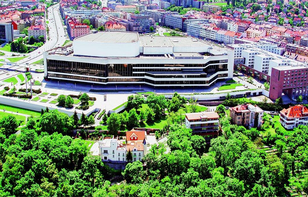 Letecký pohled na Kongresové centrum.