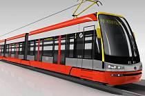 """""""Červená"""" varianta nové nízkopodlažní tramvaje Škoda ForCity 15T."""