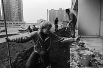 Brigádníci. Na stavbě Jižního Města se zásadním způsobem podíleli také brigádníci, například z Národní fronty. Výstavba domů se stala inspirací filmu Panelstory aneb Jak se rodí sídliště.