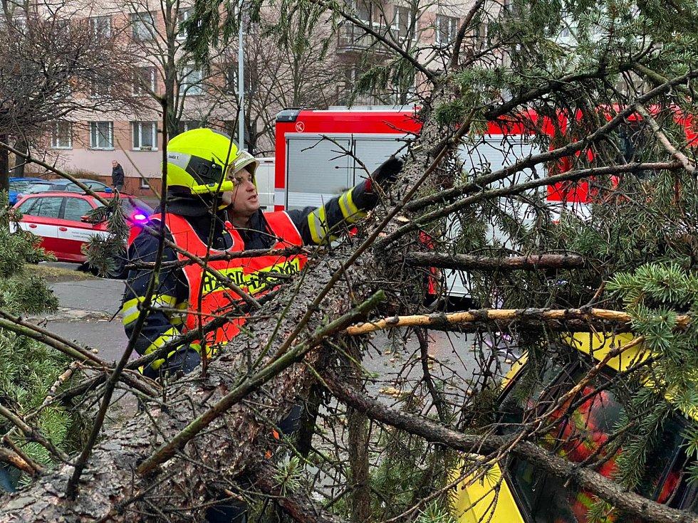 Pražští hasiči likvidují následky bouře Sabine.