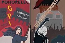 """Plakáty na podporu squatterského hnutí, kterou byly vytvořeny v rámci výstavy """"Nebe vysoko nad námi patří nám"""", vycházejí z vietnamské válečné propagandy."""