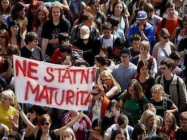Demonstrace studentů v Praze.