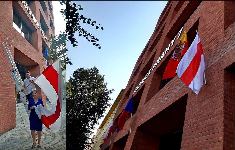 Historickou vlajku Běloruska vyvěsila městská část Praha 7.