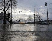 Havárie vodovodního potrubí na Výtoni 14.ledna.