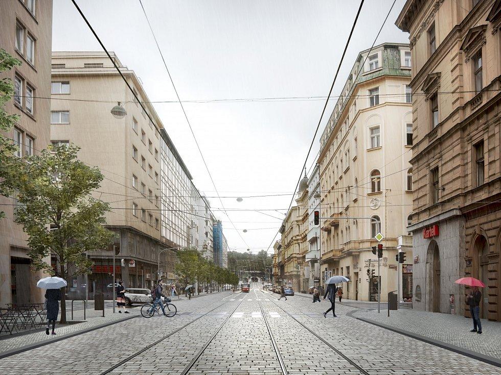 Vizualizace Revoluční ulice po plánované rekonstrukci.