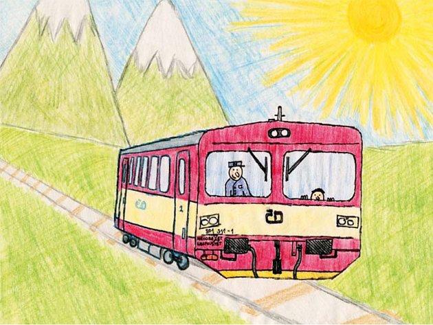 Jak Matyášek řídil vlak. Jedna z ilustrací Janise Mahbouliho v knize Pohádky z nádraží.