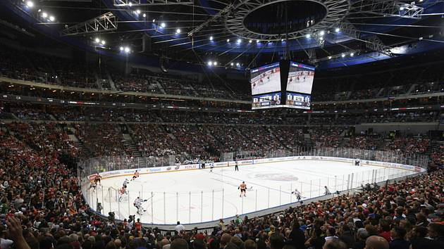 Utkání NHL Global Series: Philadelphia - Chicago, 4. října 2019 v Praze.