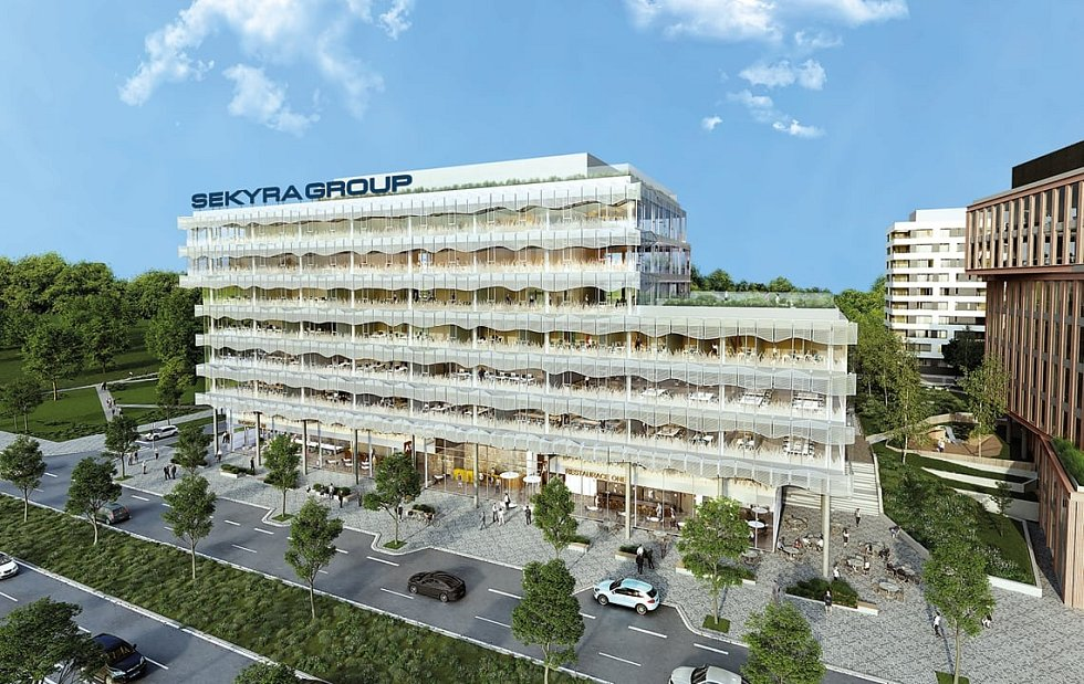 Rohan City - vizualizace. Kancelářskou budovu A1 navrhla světově proslulá architektka Eva Jiřičná.