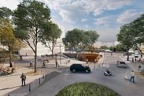 Na místě skladového areálu Westpoint má vzniknout nová obytná čtvrť. Nová Ruzyně - náměstíčko u nádraží.
