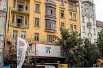 Stavební ruch na pražském Václavském náměstí 5. září 2019 v Praze. Rekonstrukce hotelu Evropa.