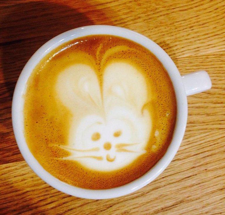 Káva v kavárně Nový svět.