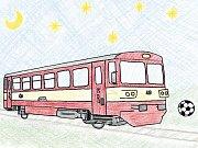 Mašinky a fotbal. Jedna z ilustrací Janise Mahbouliho v knize Pohádky z nádraží.