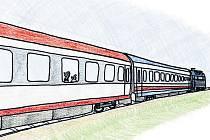 Vlak zvaný Mňaugagák. Jedna z ilustrací Janise Mahbouliho v knize Pohádky z nádraží.