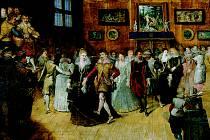 TANEČNÍM KROKEM. Hieronymus II. Francken: Společnost při tanci, kolem 1610, tempera, dřevo, Národní muzeum – České muzeum hudby.