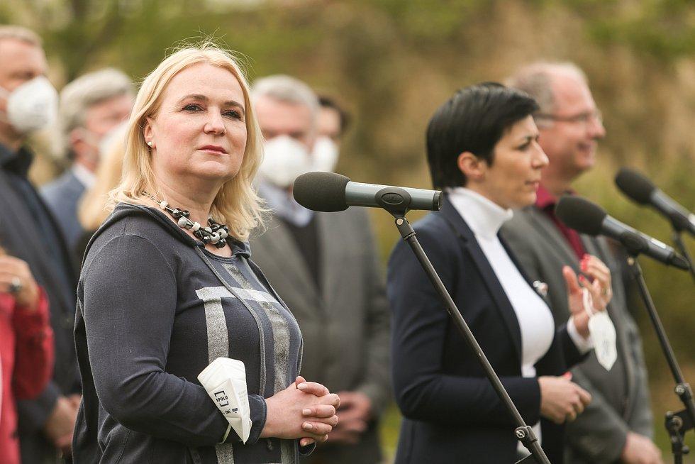 Představení pražské kandidátky koalice SPOLU se na Petříně konalo v sobotu 1. května 2021. Na snímku poslankyně Jana Černochová.