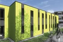 Mateřská škola Čínská. Na vizualizaci je modulová novostavba dvou tříd pro šestapadesát dětí.
