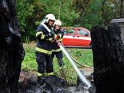 Likvidace požáru dřevěných figur brouků na naučné stezce mezi Vinořským parkem a Satalickou oborou v Praze.