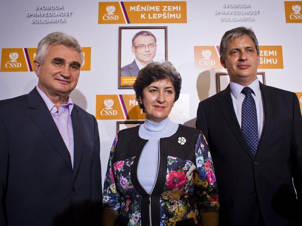 Tisková konference ČSSD jako vyjádření k výsledkům voleb, 11. října v Praze. Gajdůšková, Dienstbier, Štěch