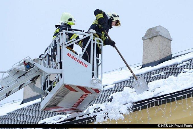 Hasiči varují před padajícím sněhem ze střechy. Ilustrační foto.
