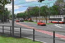 Křižovatka ulic Milady Horákové a Na Valech s naznačeným řešením cyklopruhu.