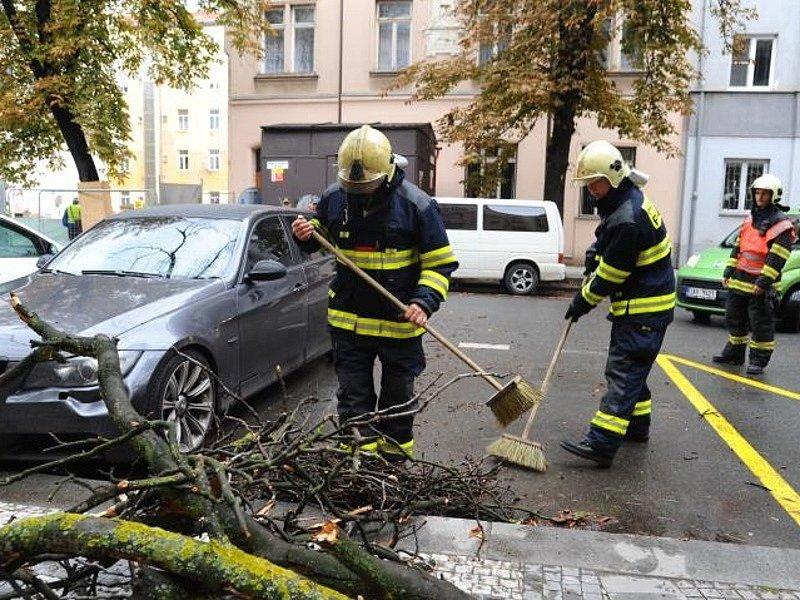 Zásah hasičů v Šaldově ulici v Praze 8, kde větev spadla na dva zaparkované automobily.