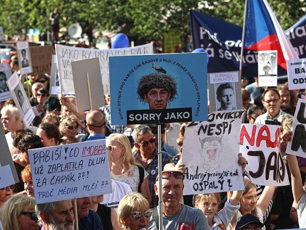 Demonstrace s názvem Jednou provždy na Václavském náměstí.