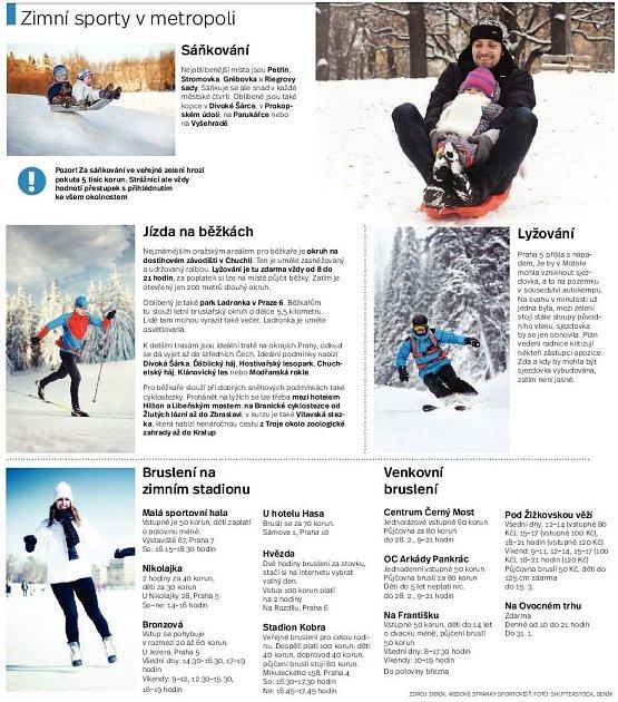Zimní sporty vPraze. Infografika.