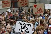 Na podporu Klánovického lesa přišly demonstrovat před pražský magistrát stovky lidí.