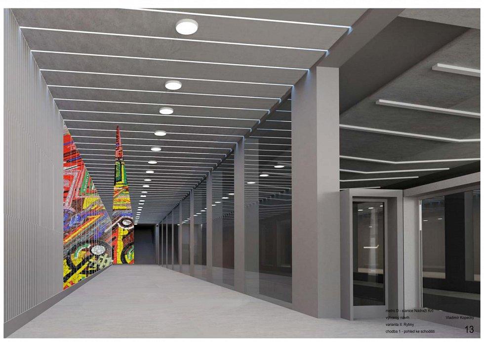Vítězný návrh podoby stanice Nádraží Krč na nové lince metra D je od Vladimíra Kopeckého.