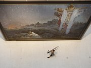 Z výstavy Slovanské epopeje malíře Alfonse Muchy ve Veletržním paláci v Praze.