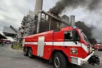 Požár spalovny v pražských Malešicích.