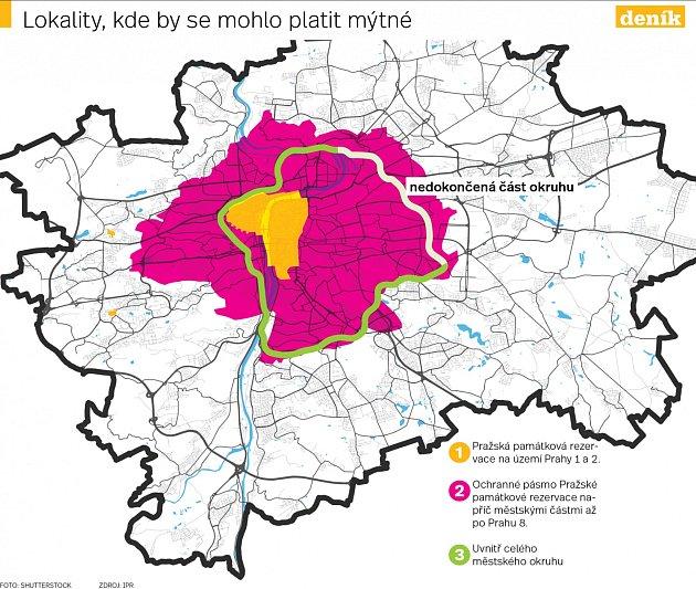 Lokality, kde by se mohlo platit mýtné.