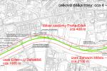 Trasa plánované drážní promenády v Praze 10